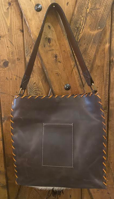 Tricolor Cowhide and Leather Handbag