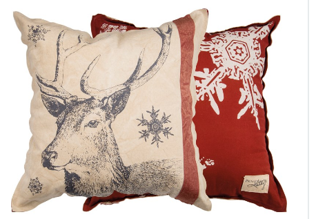Snowflake Deer Canvas Pillow