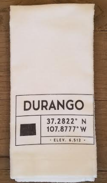 Durango City Coordinates Tea Towel