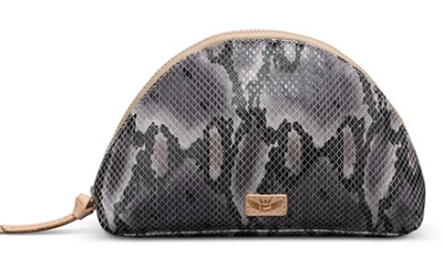 Consuela Flynn Grey Snake Cosmetic Bag