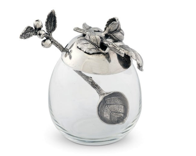 Apple Glass Honey Pot with Spoon