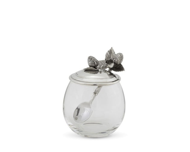 Strawberry Glass Jam Jar with Spoon