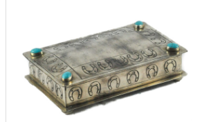 J. Alexander Stamped Horseshoe Box with Turquoise
