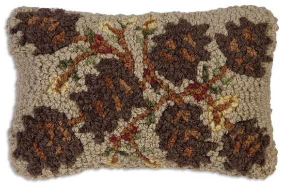 Khaki Pinecones Wool Pillow