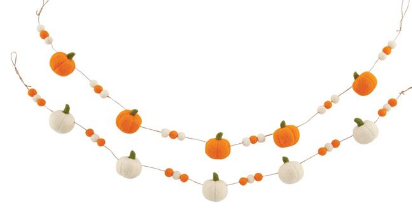 White Felt Pumpkin Garland