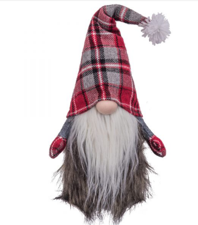 Red and Gray Plaid Hat Weighted Gnome