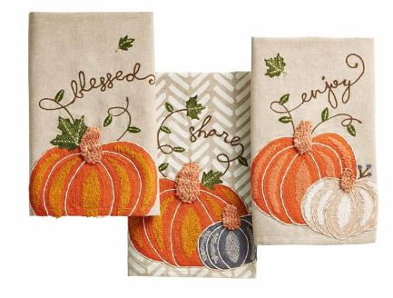 Embroidered Pumpkin Dish Towel