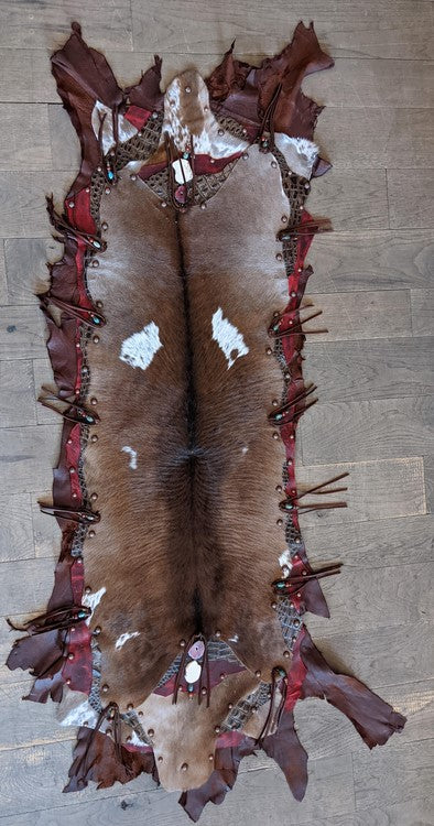 Leather & Hide Table Runner with Red Leather Accents