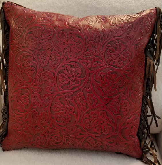 Red Cowboy Embossed Leather Pillow with Fringe
