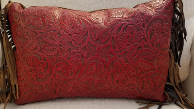 Red Cowboy Embossed Leather Lumbar Pillow with Fringe