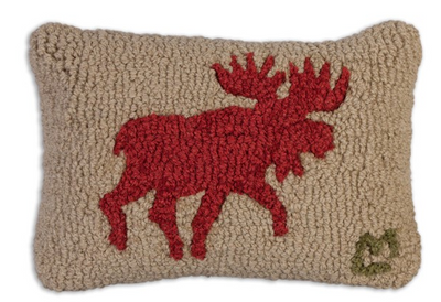 Red Running Moose Wool Pillow