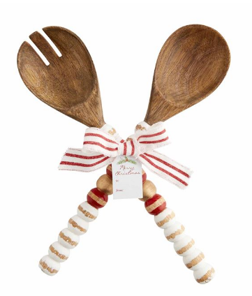 Beaded Wood Salad Servers