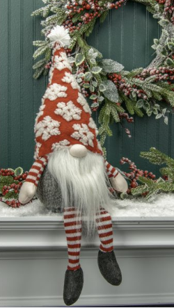 Shelf Sitter Gnome w/ Red Hat & Snowflakes