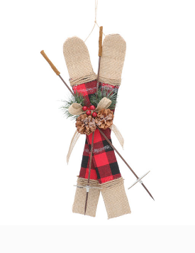 Skis And Poles Ornament 16""