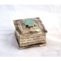 J. Alexander Square Stamped Box with Turquoise Cross