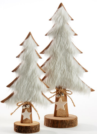 Wood Christmas Tree with White Faux Fur