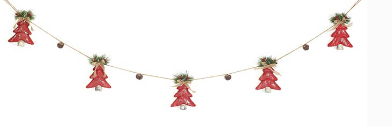 Red Burlap Trees and Bells Garland