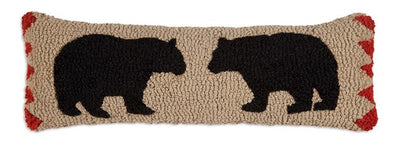 Two Black Bears Wool Pillow