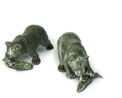 Grizzly Salt and Pepper Shakers with Fish