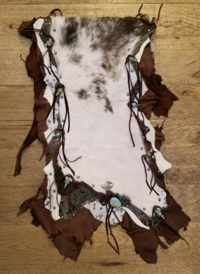 "Leather & Hide Table Runner w/ Turquoise & Silver Concho Accents (48""x18"")"