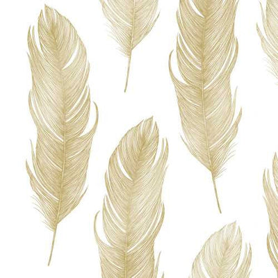 Elegant Feather Gold (Beverage Napkin)