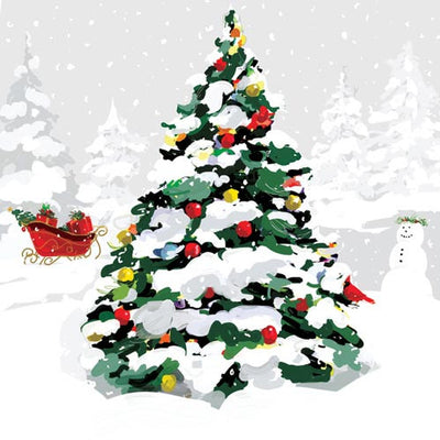 White Christmas Tree (Beverage Napkin)