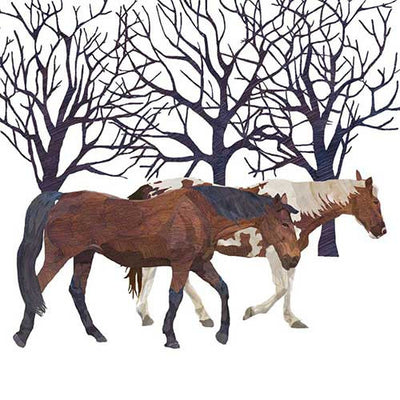Winter Horses (Beverage Napkin)