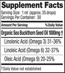 SeabuckWonders Pure Sea Buckthorn Seed Oil Nutrition Facts