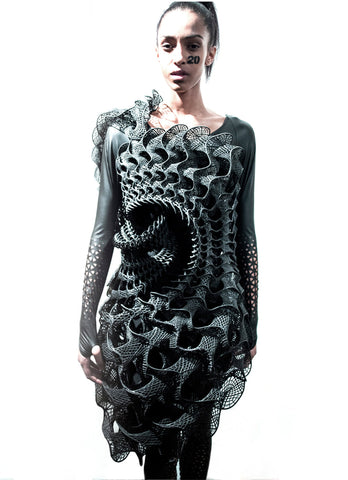 harmonigraph 3d printed dress model runway travis fitch Fitchwork  Fashion
