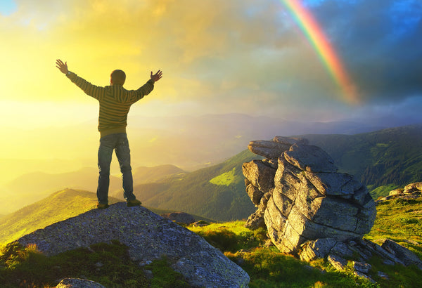 Rainbow Sunshine Man on Mountain Overcome Obstacles With Positive Healthy Choices for a Healthier Tomorrow