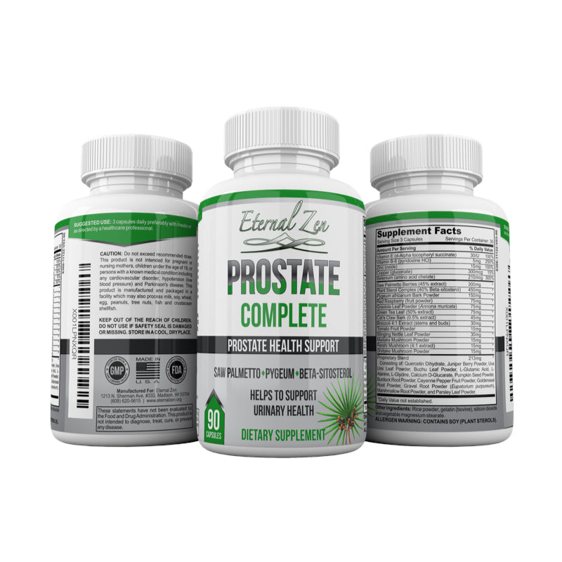 Complete Prostate Support Natural Herbal Supplement with Beta-sitosterol, Saw Palmetto, Pygeum, Vitamin E, Vitamin B6, Selenium, Reishi Mushroom, Zinc, Graviola,