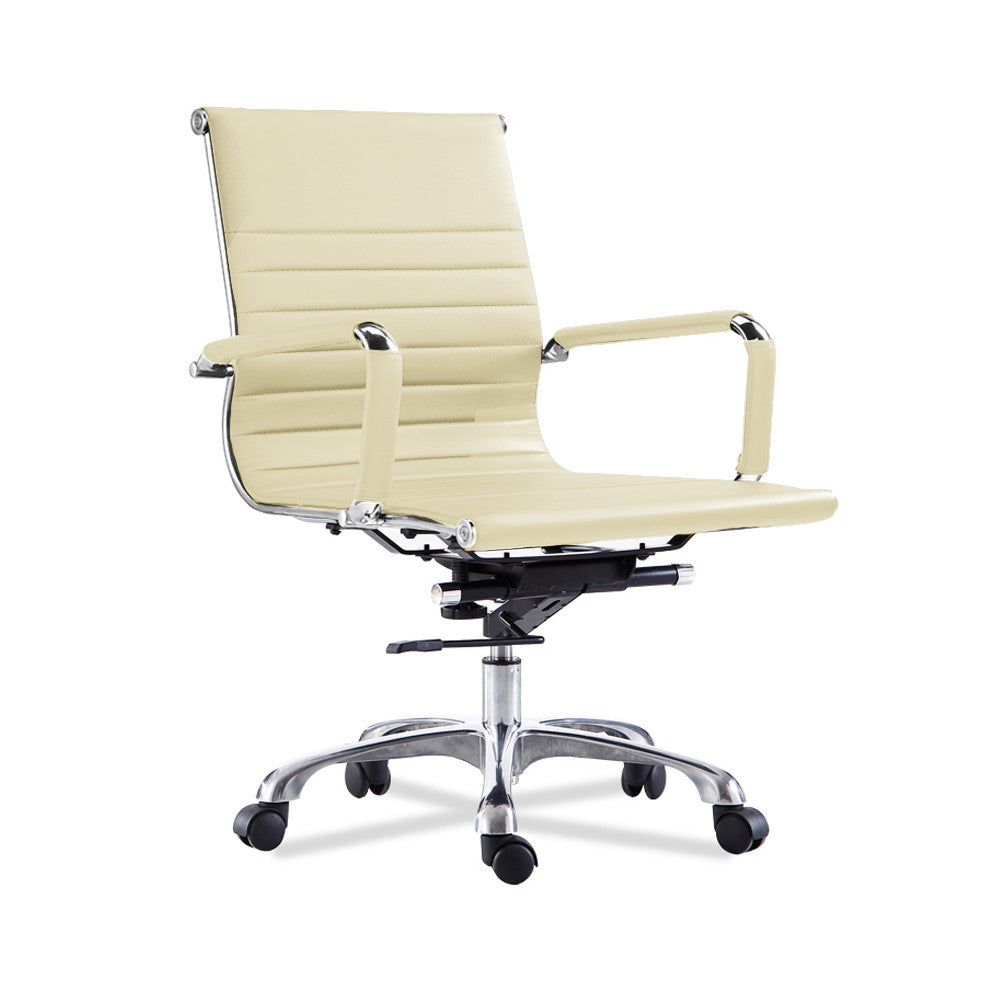 Elegant Bikey Ultimate Collection, Mid Back Leather Conference Office Chair (Cream)