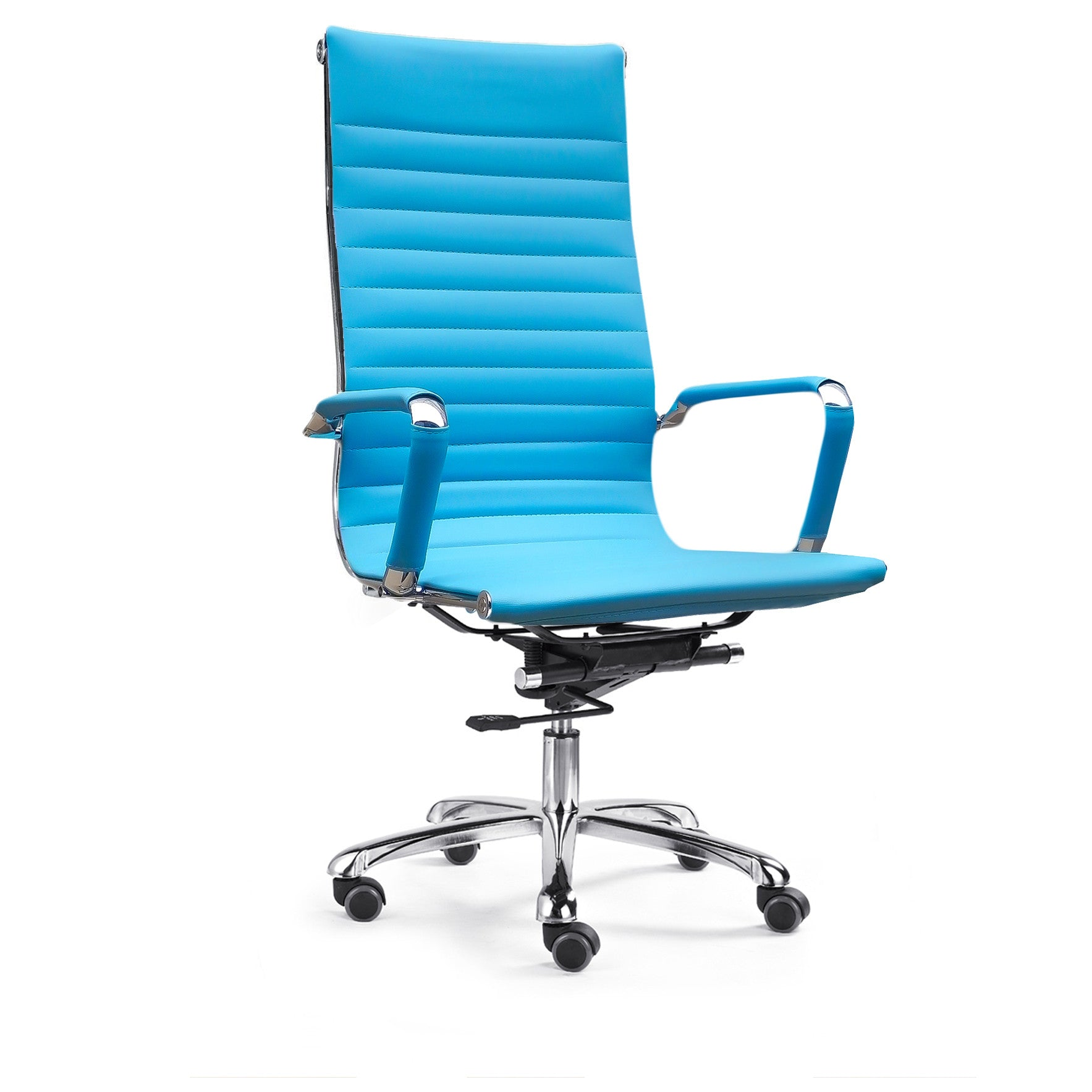 Beau Bikey Ultimate Collection, High Back Leather Executive Office Chair (Aqua)