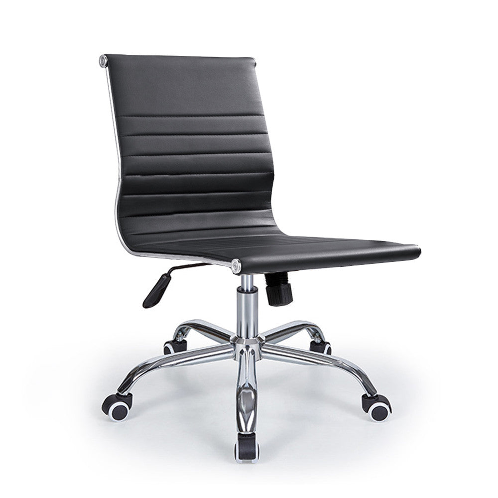 armless leather chairs. Bikey Premium Collection, Mid-Back Armless Leather Conference Office Chair (Black) Chairs