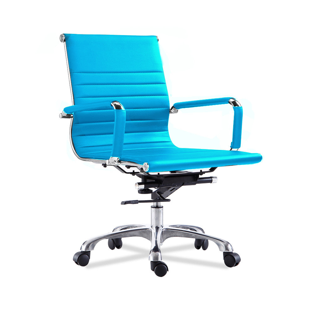 Bikey Ultimate Collection, Mid Back Leather Conference Office Chair (Aqua)