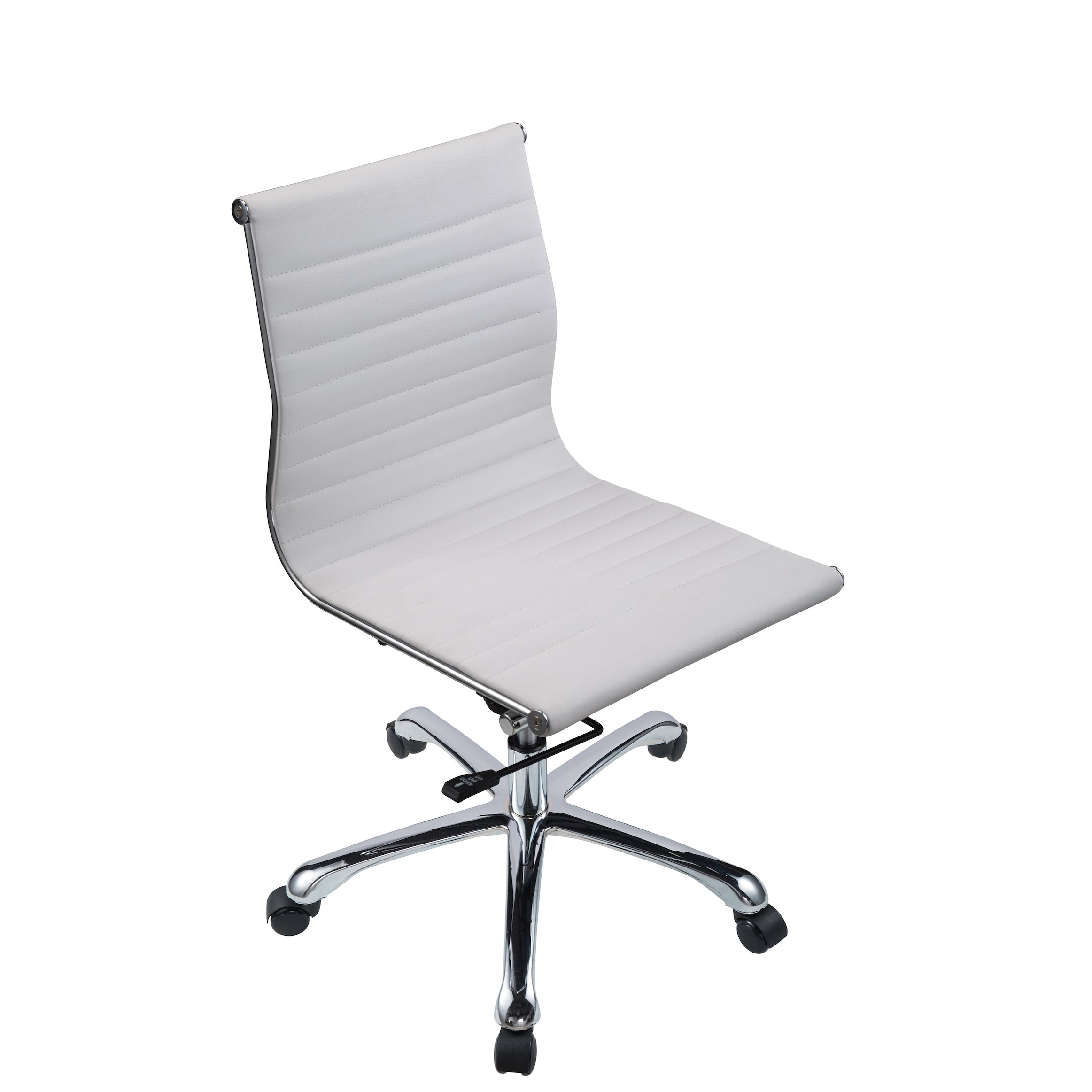 Bikey Nova Collection, Mid Back Armless Leather Conference Office Chair ( White)