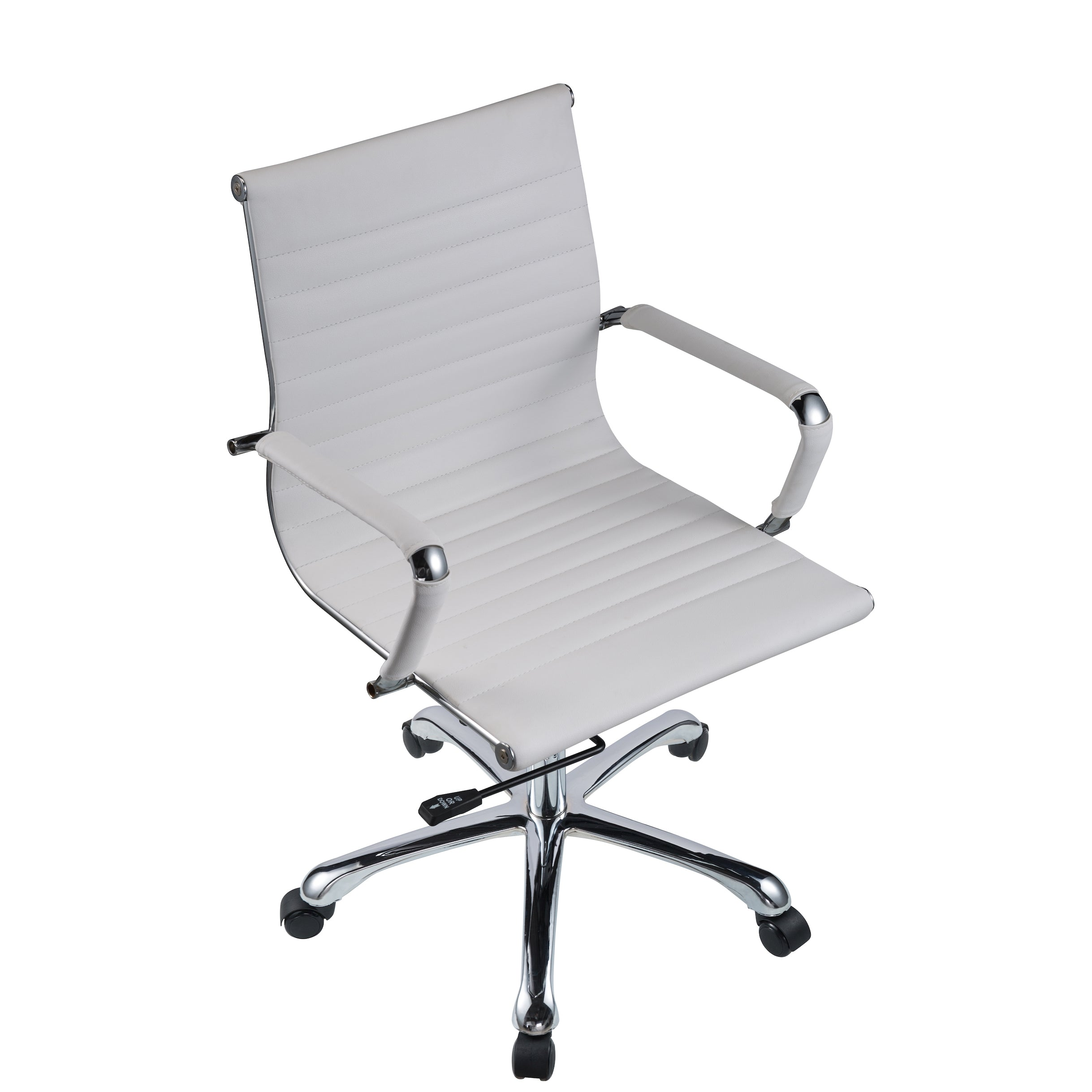 office chair white leather. Bikey Nova Collection, Mid-Back Leather Conference Office Chair (White) White