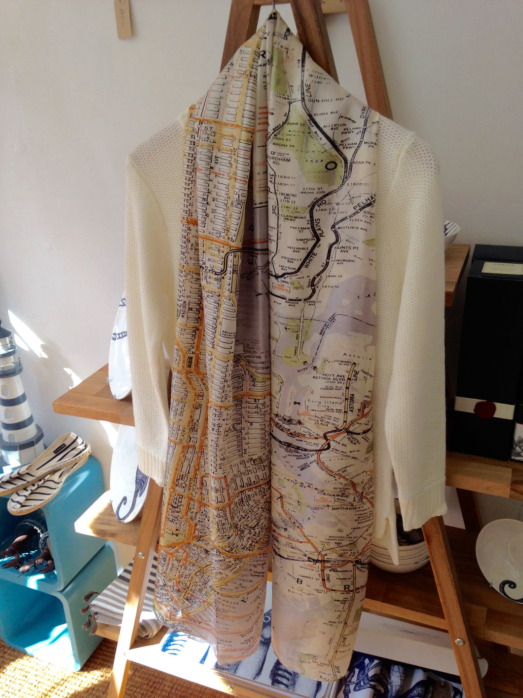 One Hundred Stars Map of Manhattan Silk Scarf