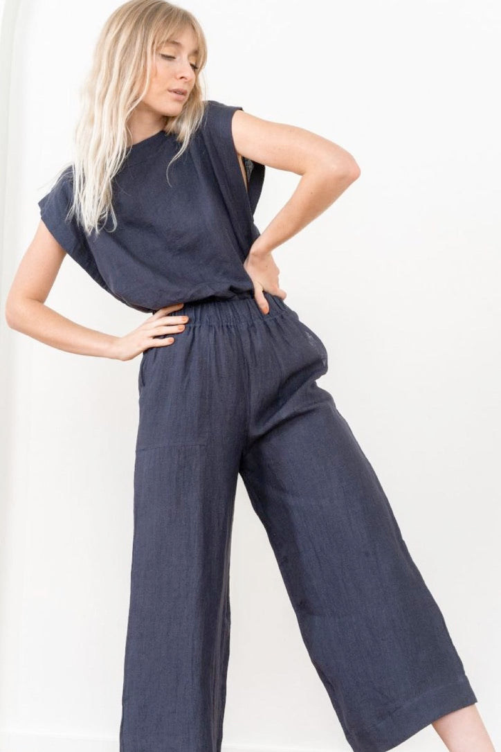 Everyday Linen Crop Pant Indigo