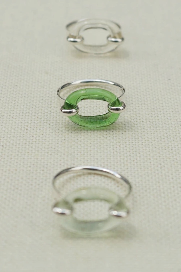 Loop Ring Green, Clear, Blush