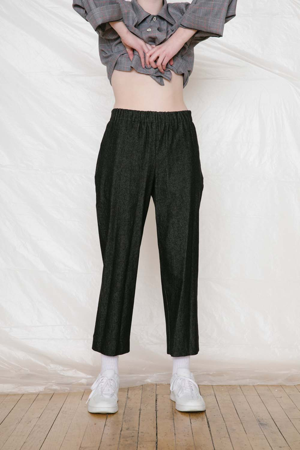 Slack Pants Black Denim