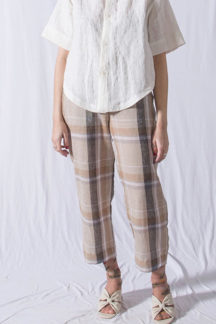 Slack Pants Natural Plaid