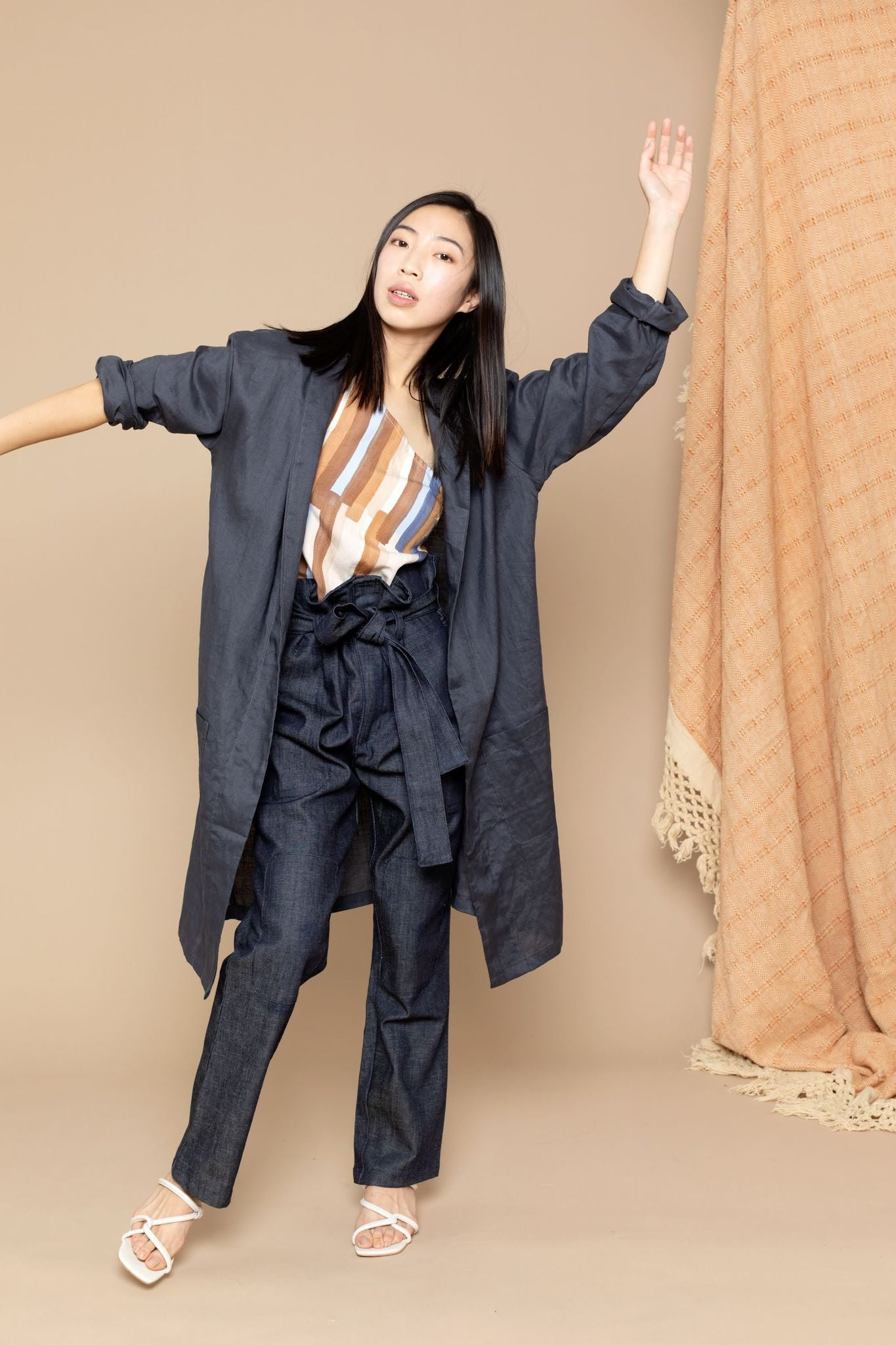 Noa Linen Duster Grey