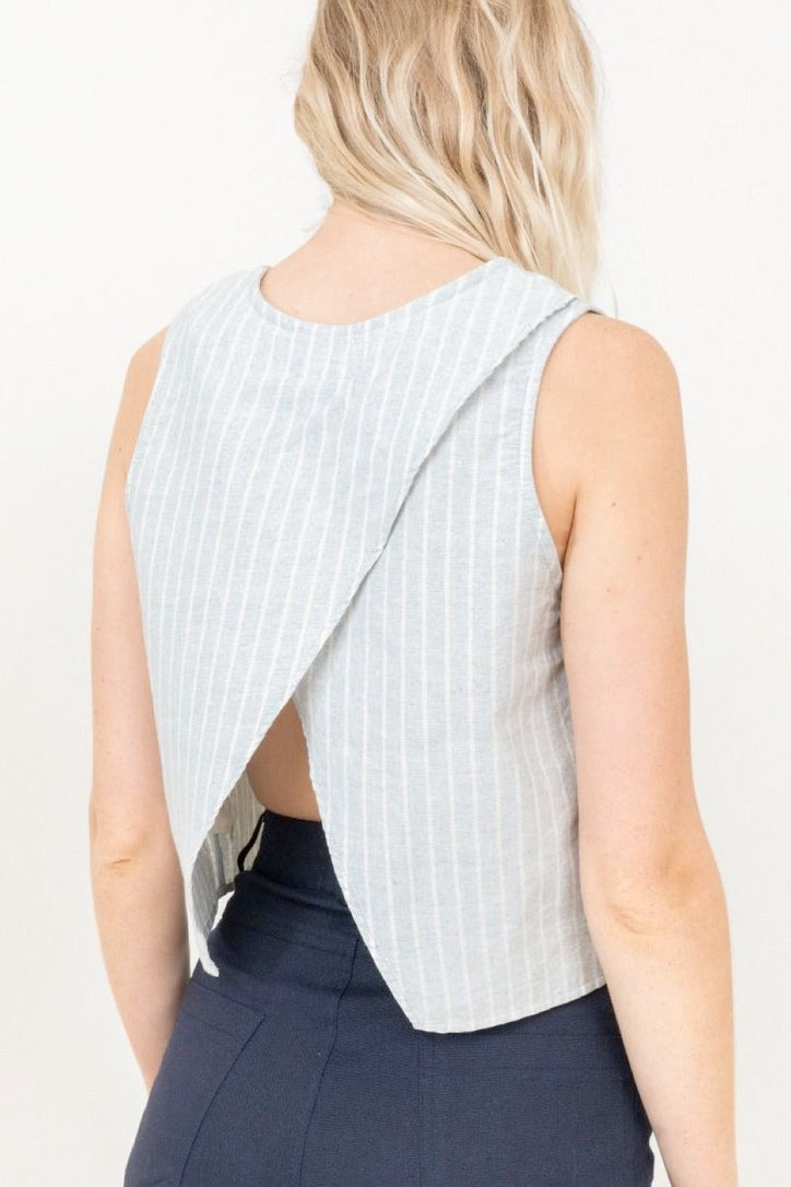 Open Back Tank Blue Stripe