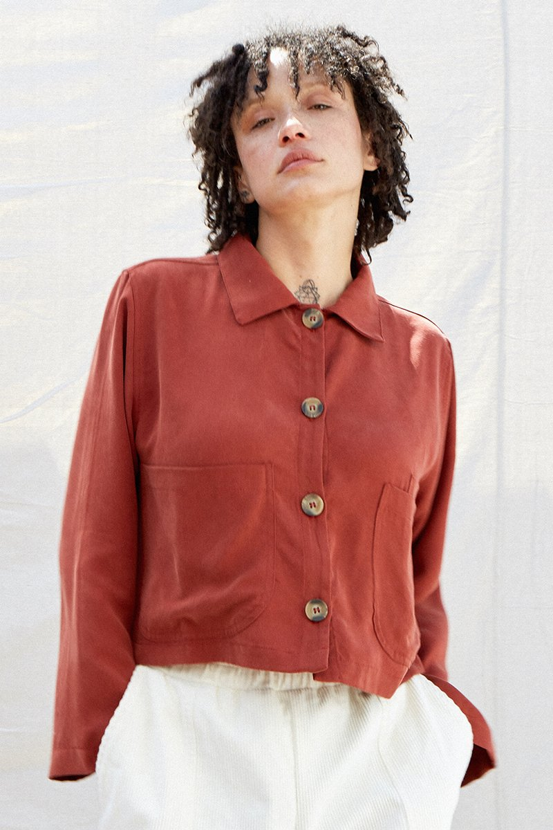 Tencel Cropped Shirt Jacket Redwood