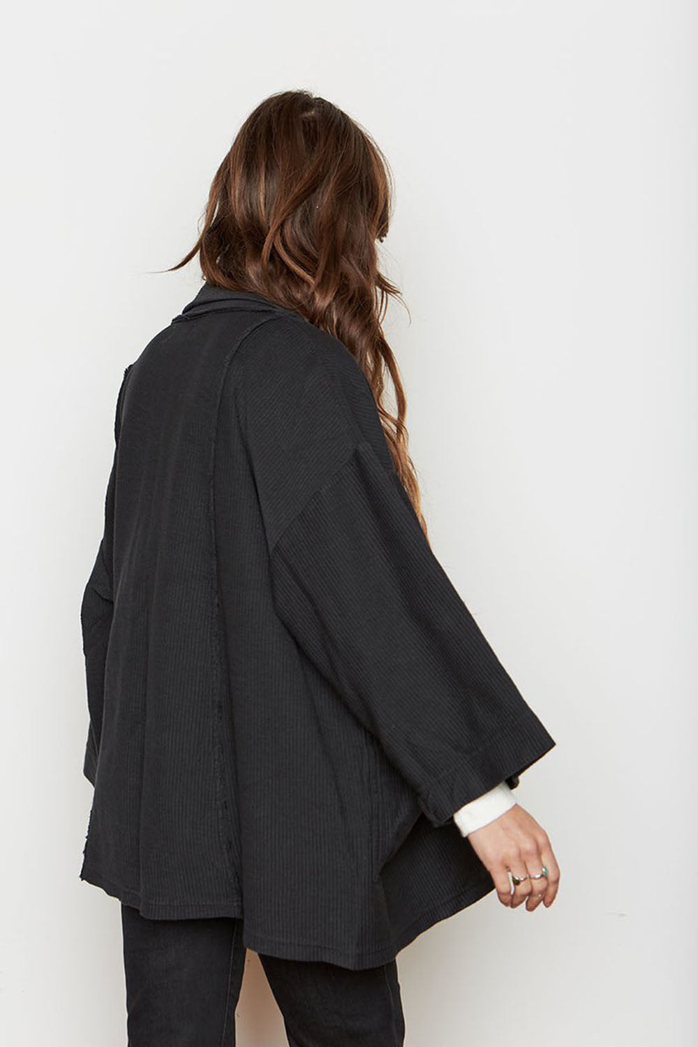 Abbot Corduroy Knit Robe Black
