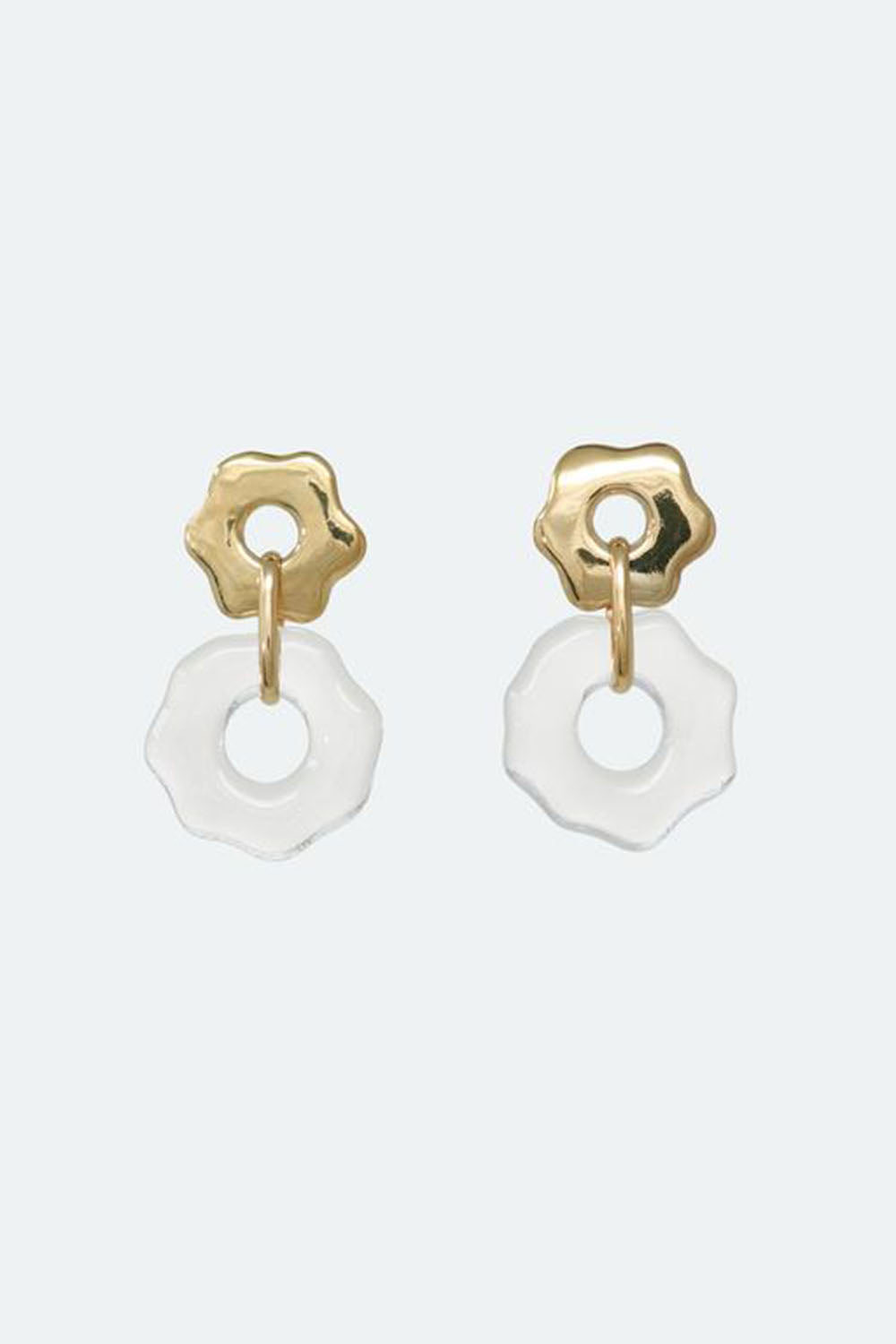 Avens Earrings Clear Gold