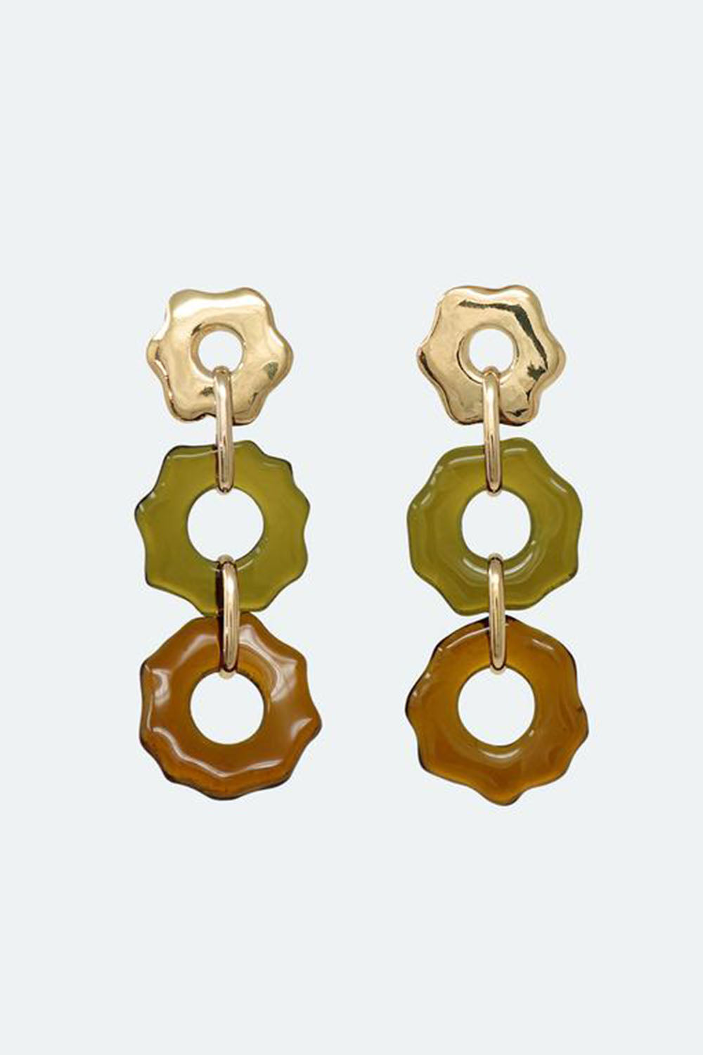Avens Earrings Trio Olive Gold