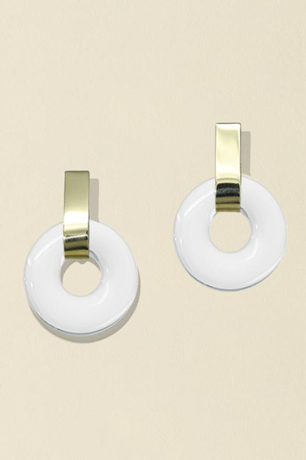 Minimal Torus Earrings Clear Brass