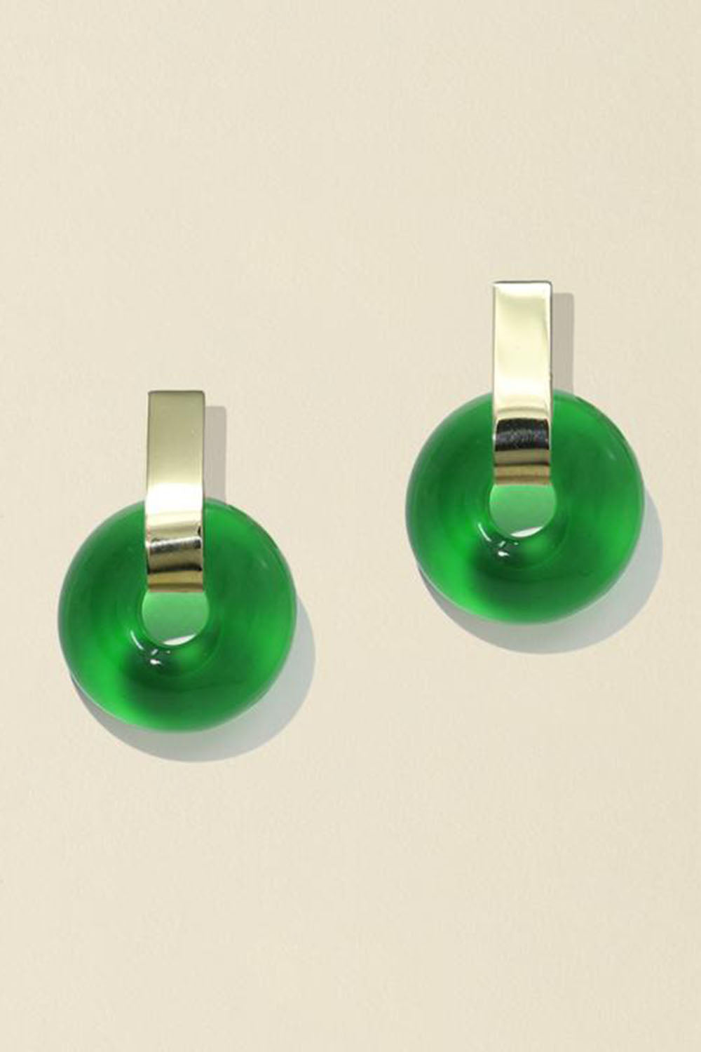 Minimal Torus Earrings Green Brass